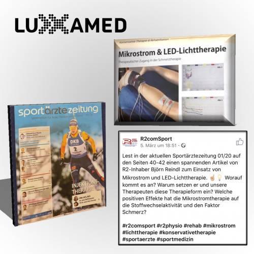 Erfahrungsbericht über Luxxamed Mikrostromtherapie und LED-Lichttherapie in der Sportärztezeitung